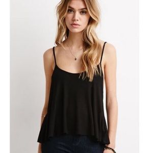 Forever 21 Ribbed Knit Trapeze Cami in Black